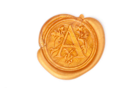 wax seal: Gold wax seal with monogram letter A isolated on white
