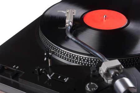 비닐 레코드 확대와 빈티지 레코드 플레이어