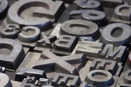 letterpress letters: Random arrangement of letterpress lead letters in block Stock Photo