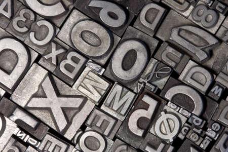 letterpress letters: Random arrangement of letterpress lead letters