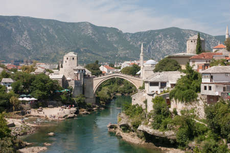 mostar: Old bridge in Mostar, Bosnia and Herzegovina