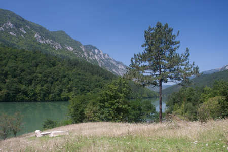 serbia landscape: river Drina in Serbia mountains landscape
