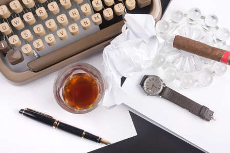 cigare: Old german type writer with paper, cigare, vintage watch, fountain pen and glass of whiskey Stock Photo