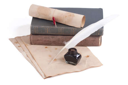 old books and pen on a white background photo