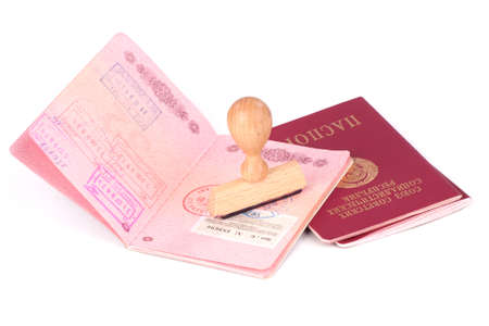 foreigner: Stamp and passports of the Soviet Union over white