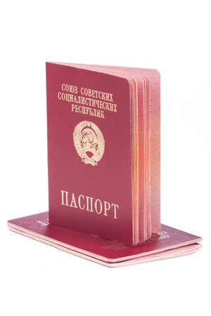 soviet: Old pasports of the Soviet Union over white
