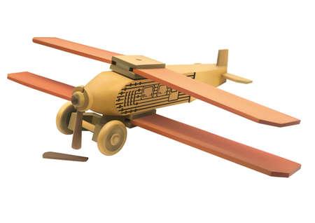 fighter pilot: Illustrazione di legno vecchio rotto aeroplano giocattolo su sfondo bianco Vettoriali