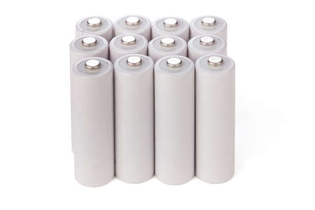 aa: AA batteries stand in a row over white
