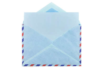 air mail: vintage air mail envelope with a letter inside over white