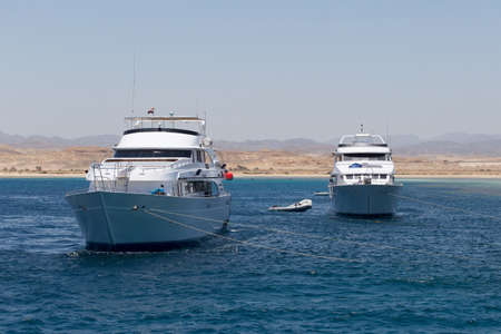 dive trip: pleasure yacht in the Red sea. July 01, 2015 in Port Ghalib, Egypt Editorial