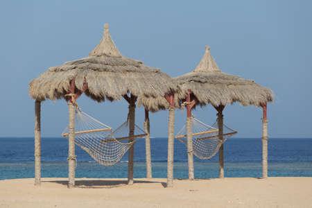 marsa: Hammock on a red sea beach in Marsa Alam, Egypt