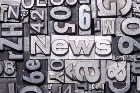 news letter: lead type letters form the word news Stock Photo