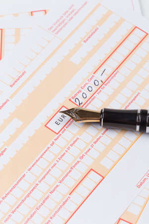 deposit slip: Old Fountain Pen on Remittance slip macro