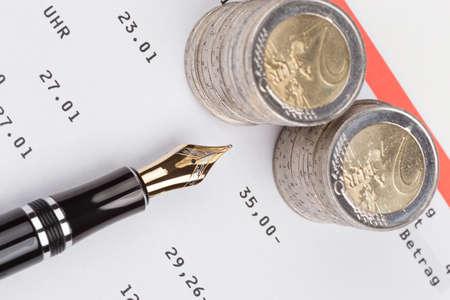 passbook: saving bank passbook with fountain pen