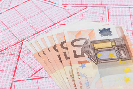 50 euro: lottery ticket with 6 x 50 euro bank note