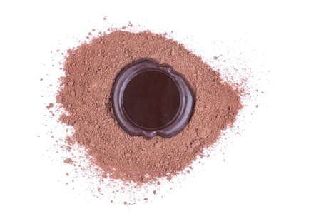 approval label: chocolate seal over cocoa powder over white