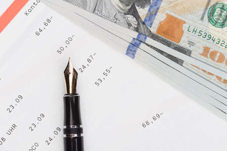 paycheck: statement of account with the money on top
