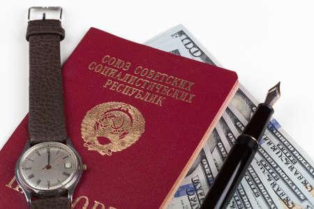soviet union: Soviet union travel passport with money and fountain pen