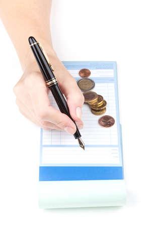 receipt: Female hand Receipt Book and Fountain Pen