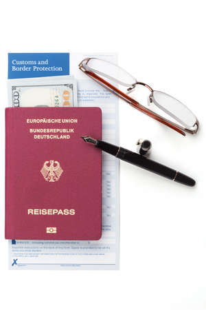 declaration: customs declaration with german travel passport and fountain pen
