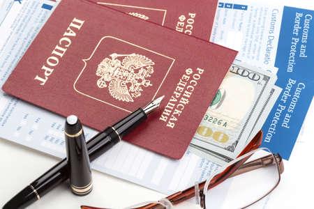 declaration: customs declaration russian travel passport and fountain pen