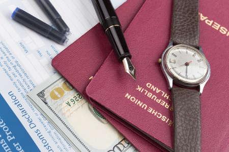 declaration: customs declaration german travel passport and fountain pen