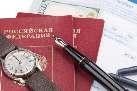 declaration: customs declaration russian travel passports and fountain pen