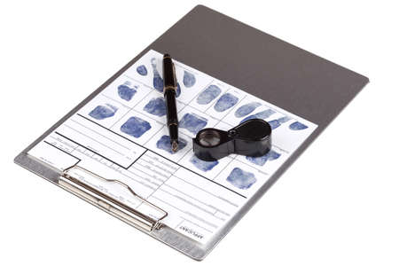 fingerprinting: Fingerprint card with fountain pen over clipboard Stock Photo