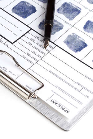 fountain pen: Fingerprint card with fountain pen over clipboard Stock Photo