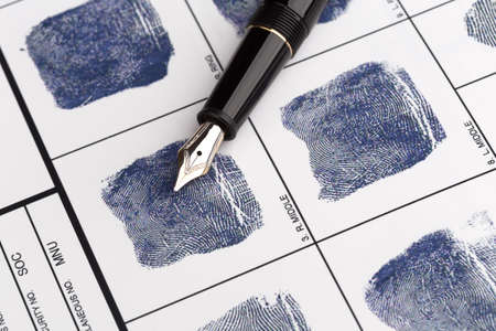 fingerprinting: Fingerprint card with vintage fountain pen