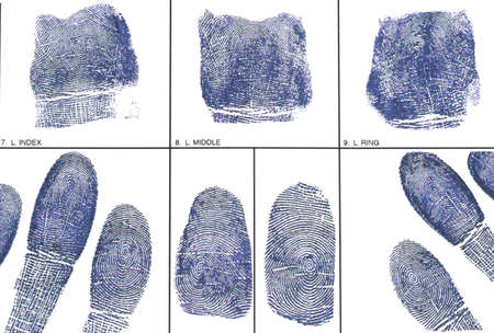 fingerprinting: Fingerprint card with fingerprints Stock Photo