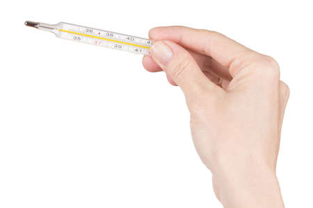 quicksilver: Female Hand holding thermometer over white Stock Photo