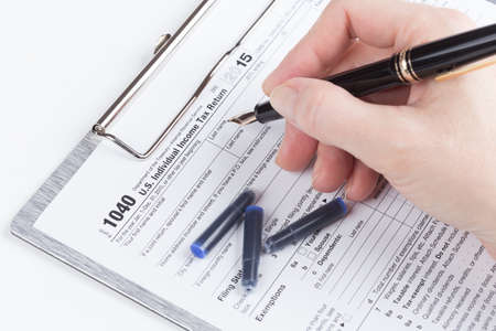 female form: female hand filling out Income Tax Return Form