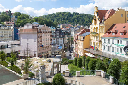 Panorama of the Karlovy Vary, July 3, 2017 in Karlovy Vary, Czech Republic Editorial
