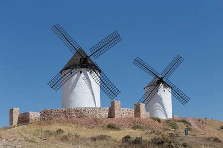 don quijote: Windmills near Alcazar de San Juan, Castile region, Spain,