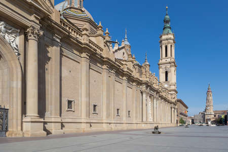 colonnade: Zaragoza Basilica, August 1, 2017 in Zaragoza, Spain