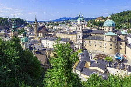 잘츠부르크, 오스트리아의 역사적인 도시 잘츠부르크, 2017 년 8 월 9 일의 파노라마