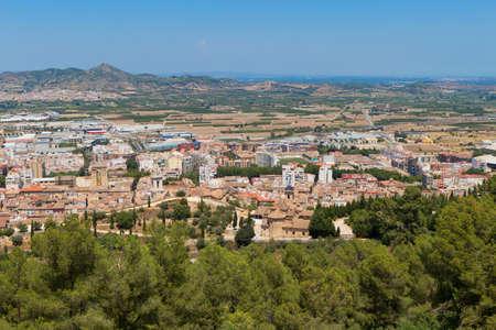 Xativa 마을 산에서보기 스톡 콘텐츠