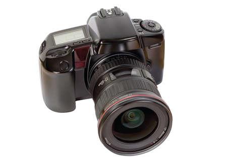 白い背景上のアナログSLRカメラ
