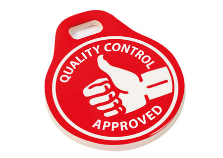 quality control approved symbol over white background