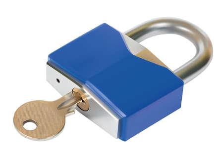 Padlock with Key over white background 일러스트