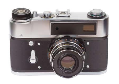 Analog vintage camera over white background