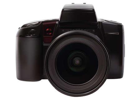白い背景上のアナログ一眼レフカメラ