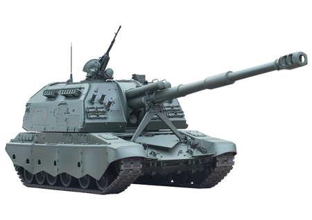 Self-propelled gun over white background