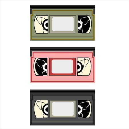 set of retro VHS cassettes
