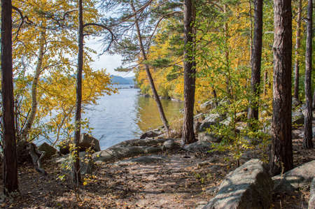 lake beach: Picturesque places of Kazakhstan, Borovoe village, with its unique lakes and forests! Stock Photo