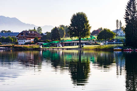 rural village by the lake Stock Photo