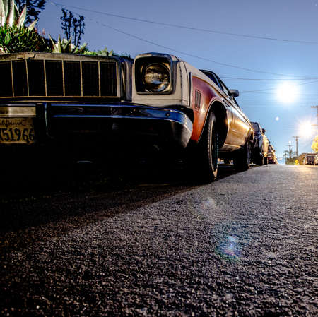 Vintage Classic Car At Night Stock Photo Picture And Royalty Free