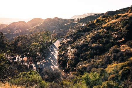roads in hollywood hills over city of los angeles