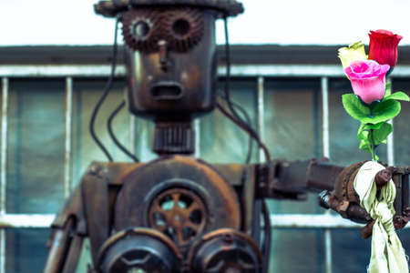 lovely robot made of scrap metal spare parts Imagens